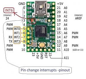 Click image for larger version.  Name:Teensy 2.0 INT pins.jpg Views:254 Size:100.4 KB ID:13406